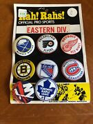 1969 Nhl Eastern Div Hockey Pin Set New Old Stock Red Wings Bruins Maple Etc