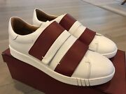 550 Bally Willet White And Red Leather Sneakers Size Us 10.5 Made In Italy