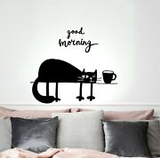 Wall Decal Funny Cat Pet Coffee Good Morning Lettering Vinyl Sticker Ed2148