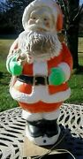 Vintage Poloron Christmas 31 Santa Claus With Candy Cane Lighted Blow Mold