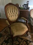 Wood Antique Arm Chair Vintage Late 1800and039s