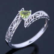 Solid 18k White Gold Gemstone Ring 0.23ct Peridot Vintage Antique Fine Jewelry