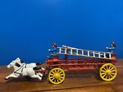Vintage Cast Iron Two Horse Drawn Hook And Ladder W/ 2 Men Fire Wagon Toy 15