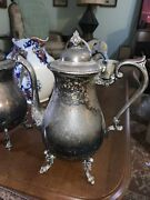 """Silver Plate On Copper English Serving Plate Teapot Large Footed 11 1/2"""" Tall"""