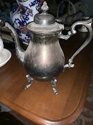 """Silver Plate On Copper English Serving Plate Teapot Large Footed 11 """" Tall"""