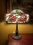 Artsandcraftsnouveau Floral Signed Chicago Mosaic Leaded Stained Slag Glass Lamp