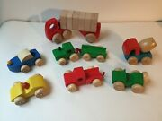 7 Lorenz Germany Wooden Toy Trucks Cars Boat-excellent Condition
