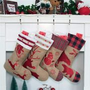 Beyond Your Thoughts Family Burlap Rustic Christmas Stocking Set Of 4 Extra Lar