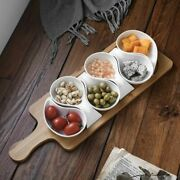 Snack Plate Ceramic Fruit Salad Tableware Kitchen Cooking Baking Wooden Tray
