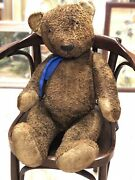 Rare 29 Big Antique Brown Toy Mohair Huge Early Teddy Bear Hump Glass Eyes