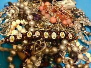 Estate Vintage Jewelry Necklaces Retro Gold Silver Tone Junk Drawer Lbs Lot A410