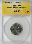 2004-p 5c Peace Medal Jefferson Nickel Cddo-001 Doubled Die Obverse Anacs Ms65
