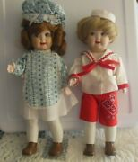 Vintage Signed Bisque/porcelain Googly Eye Dolls Girl And Boy Painted Legs, Shoes