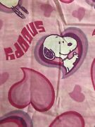 2 Pc. Vintage Peanuts Snoopy Twin Flat Top Sheet + Pillowcase Pink Hearts Fabric
