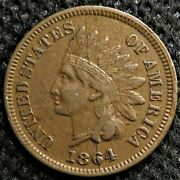1864-l Indian Head Cent With Huge Bisecting Die Crack And Bold Liberty. Snow-16