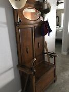 Vintage 1900andrsquos Oak Hall Tree Lift Up Seat And Storage With Beveled Mirror