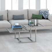 Hennandhart Modern Chic 2-tier Coffee Table For Living Room 18 H X 43 L X 23 W