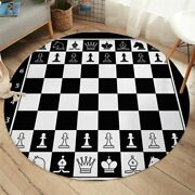 Black White Checked Chess Board Play Round Rug Carpet Mat Living Room Bedroom