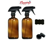 Open 16oz 2 Pack Empty Amber Glass Spray Bottles With Poly Cone Caps And Labels