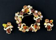 Vintage Rhinestone Brooch And Earrings - Clear Ribbons Topaz And Bi-colored
