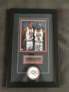 Micheal Jordan Signed And Certifed Olympic Picture With Magic Johnson.