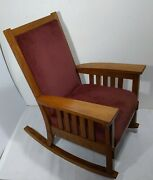Antique Mission Arts And Crafts Quartersawn Solid Tiger Oak Wood Rocking Chair