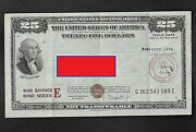 United States War Savings Bond Feb,1944 25.00 Marshall Field And Co Chicago,ill.