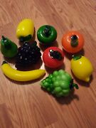 Murano Style Hand Blown Glass Fruit And Vegetables 9 Pieces Euc