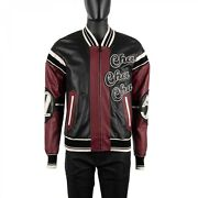 Dolce And Gabbana Lounge Cello Embroidered Bomber Leather Jacket Black Red 08929
