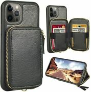 Iphone 12 Pro Max Wallet Case Shockproof Zipper Leather Card Holder Cover Black
