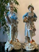 Large 19th Century Meissen Porcelain Figurines 16 Tall