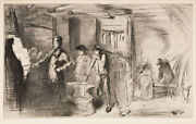 James A. M. Whistler The Forge. Drypoint, 1861, Framed Matted American