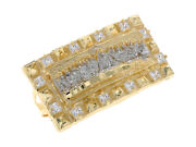 10k Or 14k Two Tone Gold White Cz Last Supper Two Finger Rectangle Mens Ring