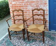 Pair Of Country French Antique Oak Rush Seat Armchair