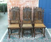 Set Of 6 French Antique Louis Xvi Dark Oak Caning Dining Chairs