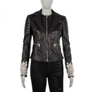 Philipp Plein Couture Crystal Leather Jacket Together Black S 4 07944