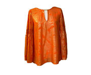 Womens Gold Printed Hardware Key Hole Pullover Blouse
