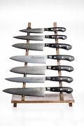 Complete Set Of Knives In High-end Damascus Steel - Ad119s
