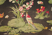 Vintage French Designer Fabric Day Bed Cover 1930's Painterly Bird And Floral