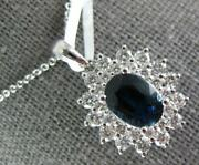 Large 2.32ct Diamond And Aaa Sapphire 14kt White Gold Oval Princess Diana Pendant