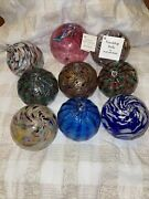 Hand Blown Glass Christmas Ornaments, Set Of 9 Asstcolors Nc Vintage Collectible