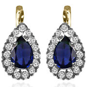 14k Yellow And White Gold Lab Created Sapphire And Diamond Russian Style Earrings