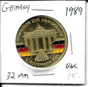 Germany Medal 32mm Uncirculated 1989 Fall Berlin Wall The Wall Is Colorized Nice