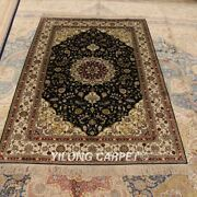 Yilong 4and039x6and039 Handknotted Silk Carpet Kid Friendly Home Indoor Area Rug Lh975b