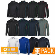 20 X Mens Breathable Long Sleeve Casual Piping Polo Work Quick Dry Shirt Xxs5xl