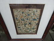 Antique Wood Frame Chinese Women Textile/embroidery Art Work On Silk Intrnl Sale