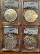 2006, 2007, 2009 And 2010 Silver Eagle 4 Coins Ms66, Ms67 And Ms69 Pcgs Blue Label