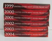 1999-2004 Us Mint Silver Proof Sets 2000 2001 2002 2003 W Box And Coa 6 Years Ogp