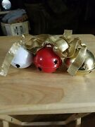 Vintage Christmas House Bells Red White And Gold Door Knob Hanger