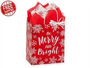 Lot 250 Christmas Cub Paper Shpping Bags Gifts Drawstring Merry Little Xmas Bags